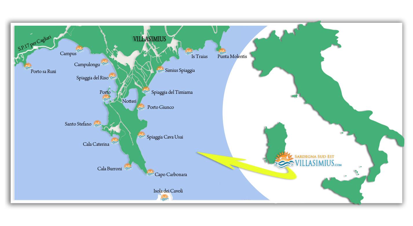 Cartina Sardegna Con Hotel.Visita Le Spiagge Di Villasimius Villasimius Sardegna